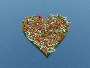 Blumen-Insel als Herz
