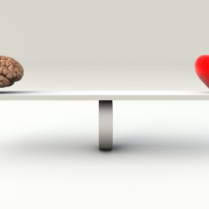 Balance Concept of an brain and an heart on a Seesaw